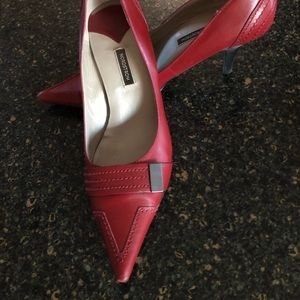 Nordstrom red leather pumps